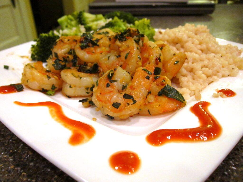 garlic chili shrimp with rice