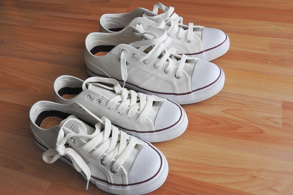 white fabric shoes