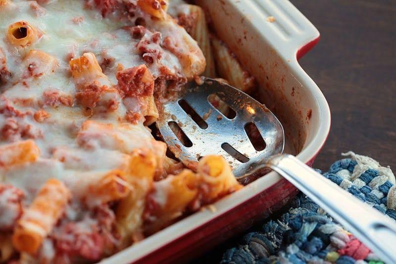 Ριγκατόνι με κομμάτια κρέας και τυρί