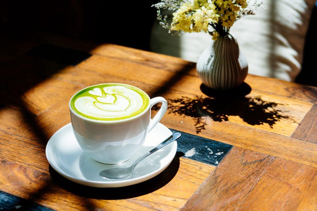 Hot matcha tea latte
