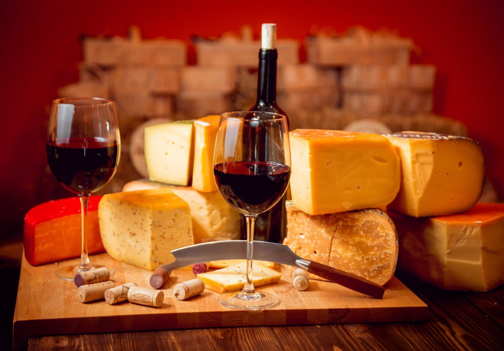 Wine and cheeses serving