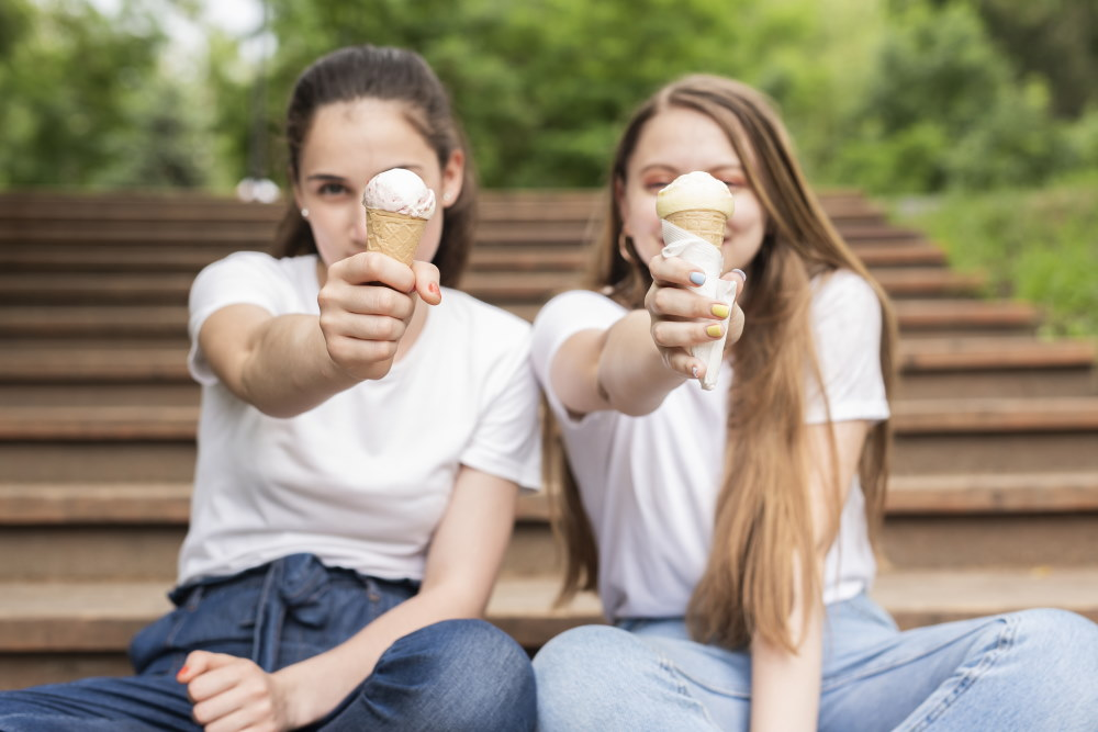 Best friends enjoying ice cream